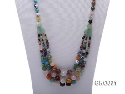 8mm Three-Row Colorful Gemstone Necklace GNO001 Image 2