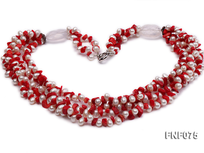 Four-strand 6-7mm White Freshwater Pearl and Red Coral Chips Necklace big Image 1