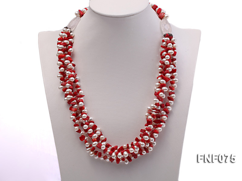 Four-strand 6-7mm White Freshwater Pearl and Red Coral Chips Necklace big Image 4
