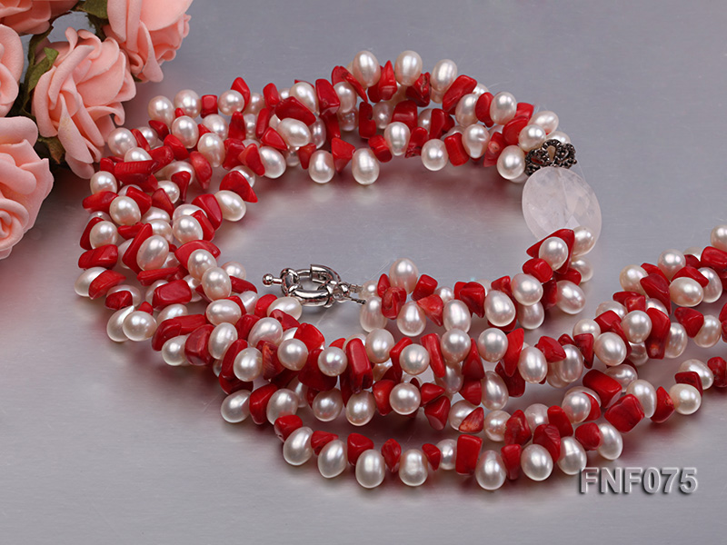 Four-strand 6-7mm White Freshwater Pearl and Red Coral Chips Necklace big Image 5