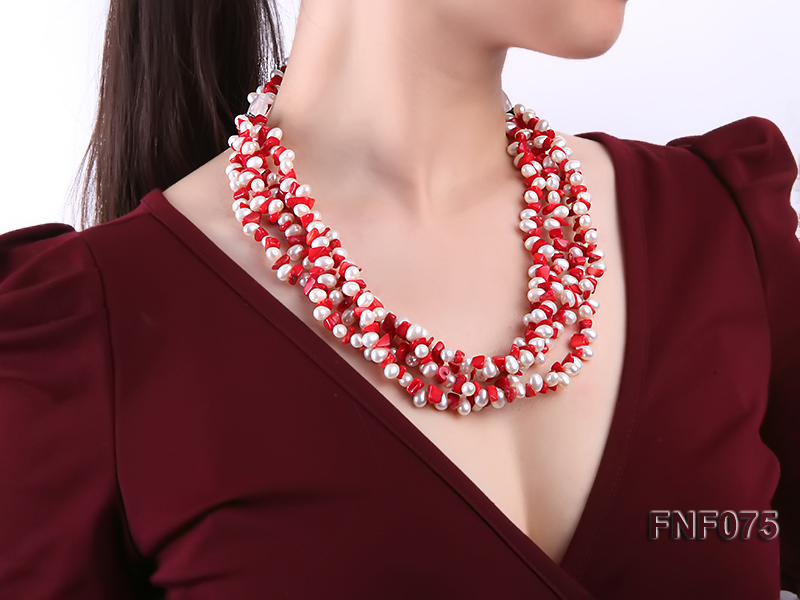 Four-strand 6-7mm White Freshwater Pearl and Red Coral Chips Necklace big Image 2