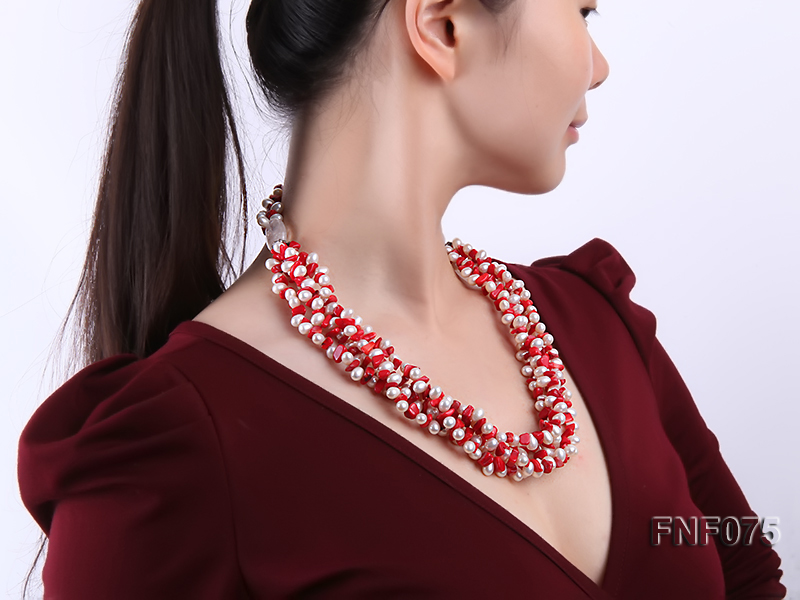 Four-strand 6-7mm White Freshwater Pearl and Red Coral Chips Necklace big Image 7