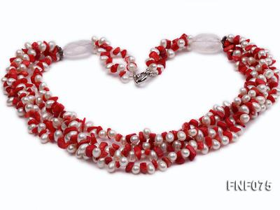 Four-strand 6-7mm White Freshwater Pearl and Red Coral Chips Necklace FNF075 Image 1