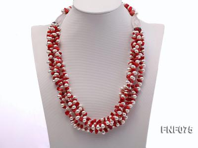 Four-strand 6-7mm White Freshwater Pearl and Red Coral Chips Necklace FNF075 Image 4