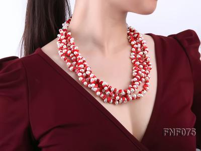 Four-strand 6-7mm White Freshwater Pearl and Red Coral Chips Necklace FNF075 Image 2