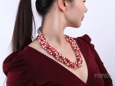 Four-strand 6-7mm White Freshwater Pearl and Red Coral Chips Necklace FNF075 Image 7