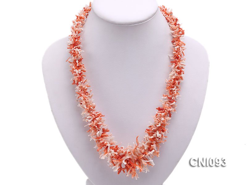 5-40mm Natural Pink and White Coral Stick&Chip Necklace big Image 5