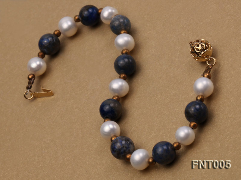 7-8mm White Freshwater Pearl & Round lapis lazuli Beads Necklace and Bracelet Set big Image 9