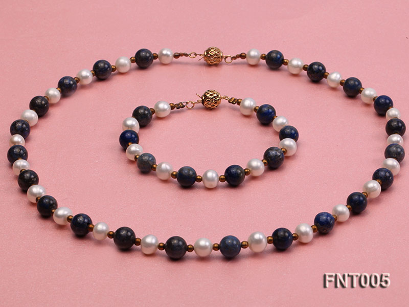 7-8mm White Freshwater Pearl & Round lapis lazuli Beads Necklace and Bracelet Set big Image 1
