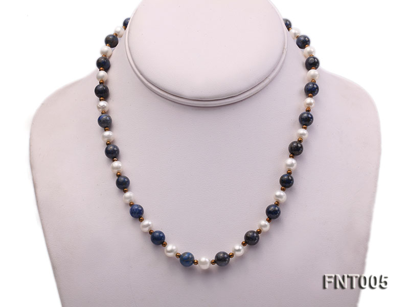 7-8mm White Freshwater Pearl & Round lapis lazuli Beads Necklace and Bracelet Set big Image 2