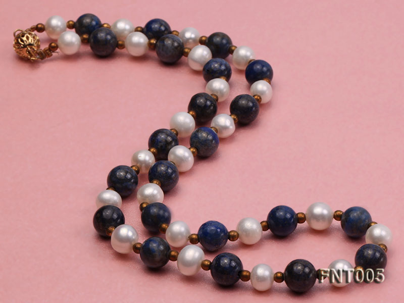 7-8mm White Freshwater Pearl & Round lapis lazuli Beads Necklace and Bracelet Set big Image 3