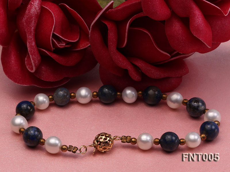 7-8mm White Freshwater Pearl & Round lapis lazuli Beads Necklace and Bracelet Set big Image 4