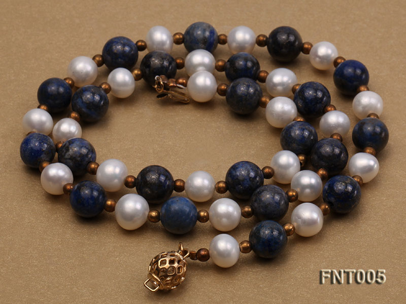 7-8mm White Freshwater Pearl & Round lapis lazuli Beads Necklace and Bracelet Set big Image 5