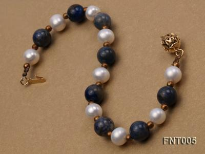 7-8mm White Freshwater Pearl & Round lapis lazuli Beads Necklace and Bracelet Set FNT005 Image 9