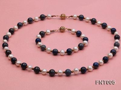 7-8mm White Freshwater Pearl & Round lapis lazuli Beads Necklace and Bracelet Set FNT005 Image 1