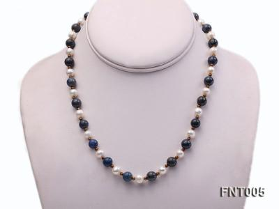 7-8mm White Freshwater Pearl & Round lapis lazuli Beads Necklace and Bracelet Set FNT005 Image 2