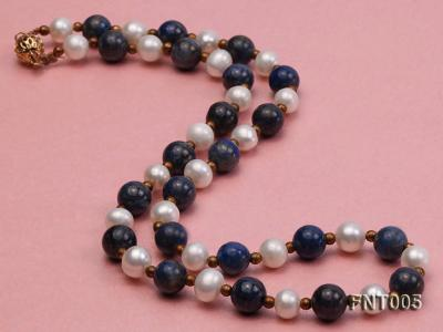 7-8mm White Freshwater Pearl & Round lapis lazuli Beads Necklace and Bracelet Set FNT005 Image 3
