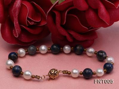 7-8mm White Freshwater Pearl & Round lapis lazuli Beads Necklace and Bracelet Set FNT005 Image 4