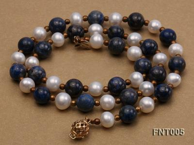 7-8mm White Freshwater Pearl & Round lapis lazuli Beads Necklace and Bracelet Set FNT005 Image 5