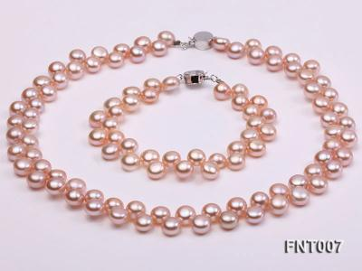 7-8mm Pink Flat Freshwater Pearl Necklace and Bracelet Set FNT007 Image 1