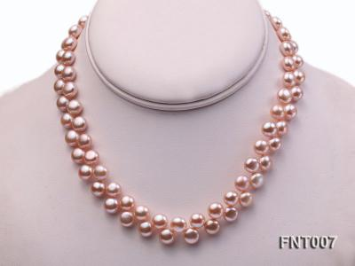 7-8mm Pink Flat Freshwater Pearl Necklace and Bracelet Set FNT007 Image 2