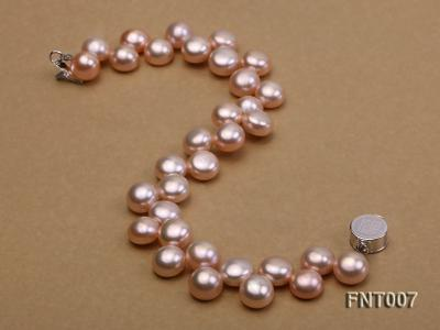 7-8mm Pink Flat Freshwater Pearl Necklace and Bracelet Set FNT007 Image 4