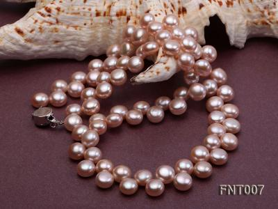 7-8mm Pink Flat Freshwater Pearl Necklace and Bracelet Set FNT007 Image 5