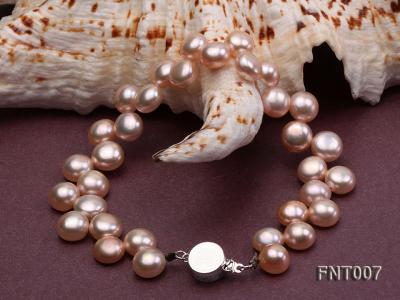 7-8mm Pink Flat Freshwater Pearl Necklace and Bracelet Set FNT007 Image 6