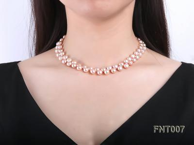 7-8mm Pink Flat Freshwater Pearl Necklace and Bracelet Set FNT007 Image 9