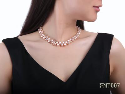 7-8mm Pink Flat Freshwater Pearl Necklace and Bracelet Set FNT007 Image 10