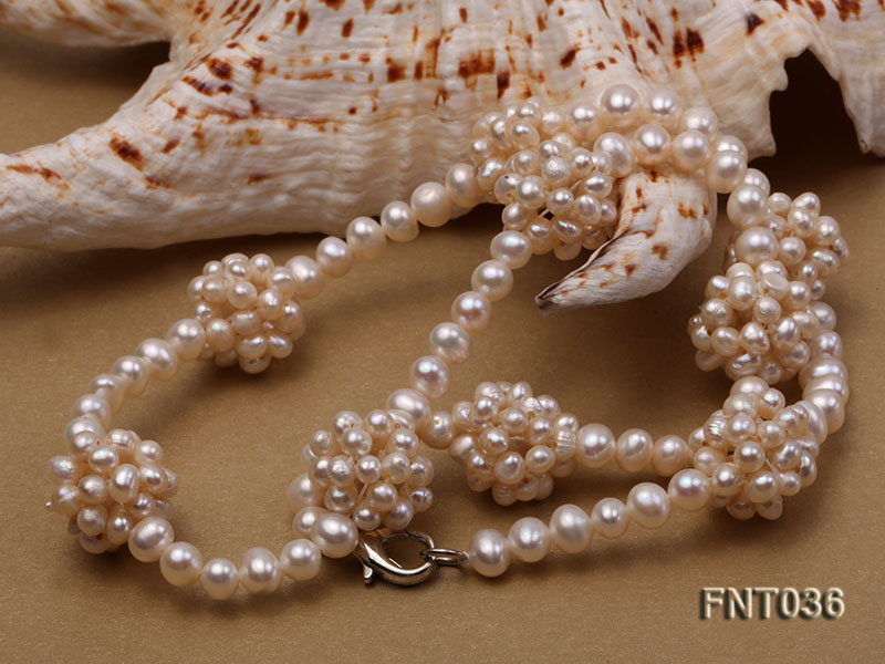 4.5mm White Freshwater Pearl Necklace and Bracelet Set big Image 6