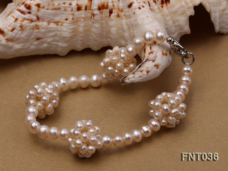 4.5mm White Freshwater Pearl Necklace and Bracelet Set big Image 7
