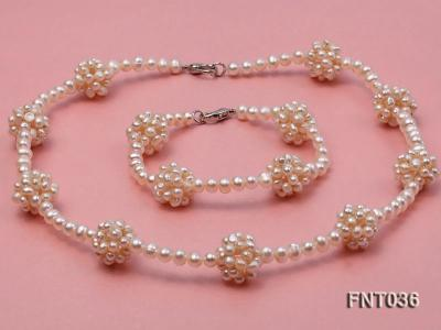 4.5mm White Freshwater Pearl Necklace and Bracelet Set FNT036 Image 1