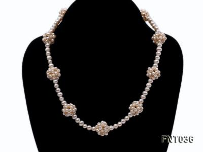 4.5mm White Freshwater Pearl Necklace and Bracelet Set FNT036 Image 2