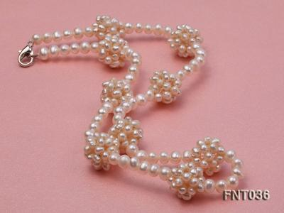 4.5mm White Freshwater Pearl Necklace and Bracelet Set FNT036 Image 3