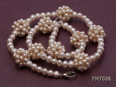 4.5mm White Freshwater Pearl Necklace and Bracelet Set FNT036 Image 4