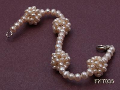 4.5mm White Freshwater Pearl Necklace and Bracelet Set FNT036 Image 5