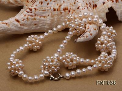 4.5mm White Freshwater Pearl Necklace and Bracelet Set FNT036 Image 6