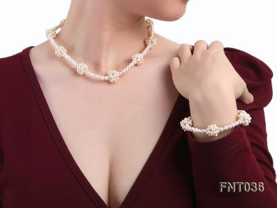 4.5mm White Freshwater Pearl Necklace and Bracelet Set FNT036 Image 9
