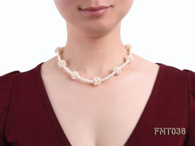 4.5mm White Freshwater Pearl Necklace and Bracelet Set FNT036 Image 10