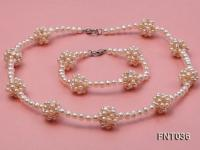 4.5mm White Freshwater Pearl Necklace and Bracelet Set FNT036