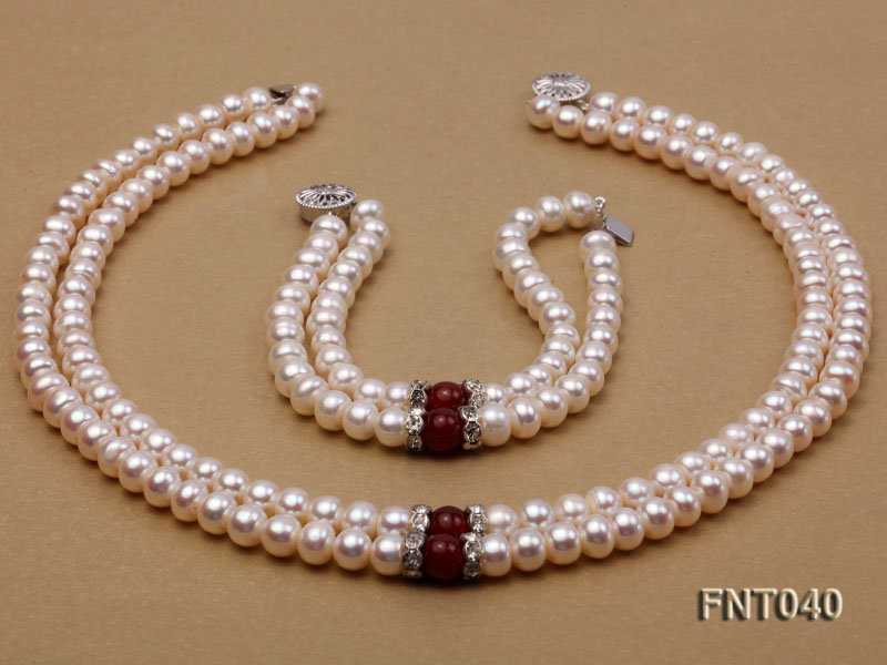 Tow-row 6-7mm White Freshwater Pearl & Red Agate Beads Necklace and Bracelet Set big Image 3