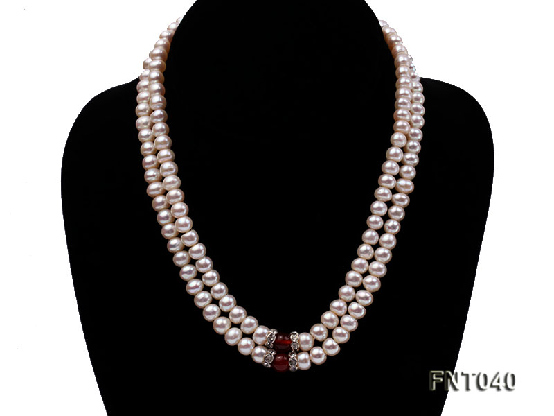 Tow-row 6-7mm White Freshwater Pearl & Red Agate Beads Necklace and Bracelet Set big Image 4