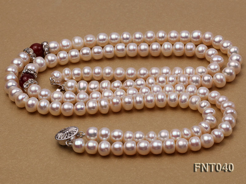 Tow-row 6-7mm White Freshwater Pearl & Red Agate Beads Necklace and Bracelet Set big Image 5