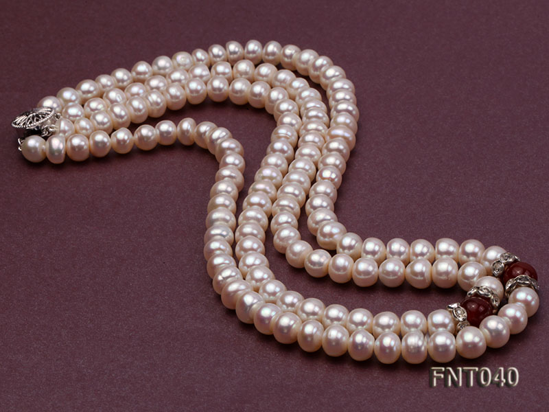 Tow-row 6-7mm White Freshwater Pearl & Red Agate Beads Necklace and Bracelet Set big Image 6
