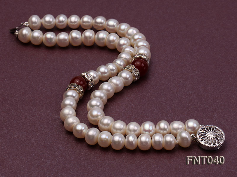 Tow-row 6-7mm White Freshwater Pearl & Red Agate Beads Necklace and Bracelet Set big Image 7