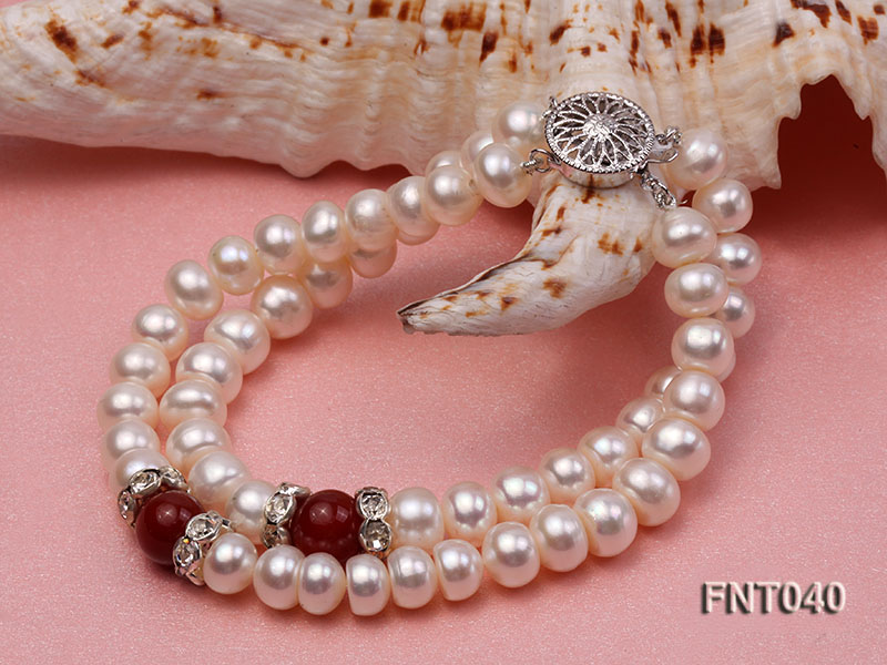 Tow-row 6-7mm White Freshwater Pearl & Red Agate Beads Necklace and Bracelet Set big Image 9