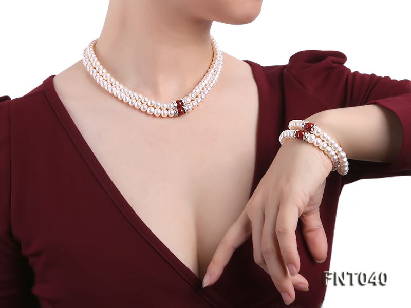 Tow-row 6-7mm White Freshwater Pearl & Red Agate Beads Necklace and Bracelet Set big Image 10