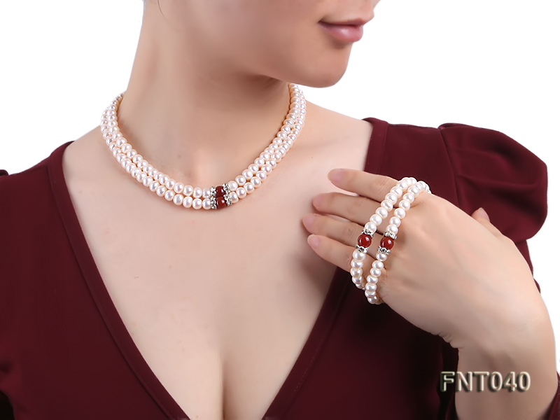 Tow-row 6-7mm White Freshwater Pearl & Red Agate Beads Necklace and Bracelet Set big Image 11