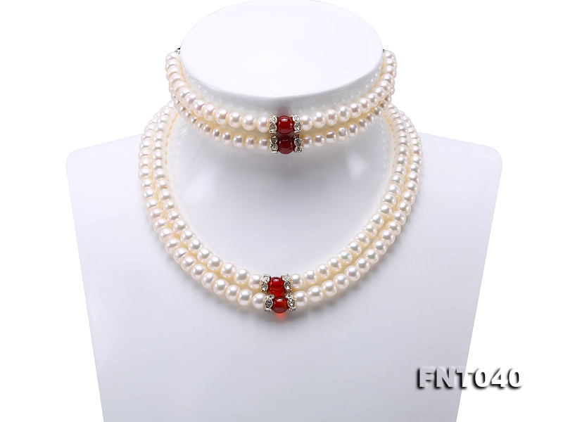 Tow-row 6-7mm White Freshwater Pearl & Red Agate Beads Necklace and Bracelet Set big Image 1